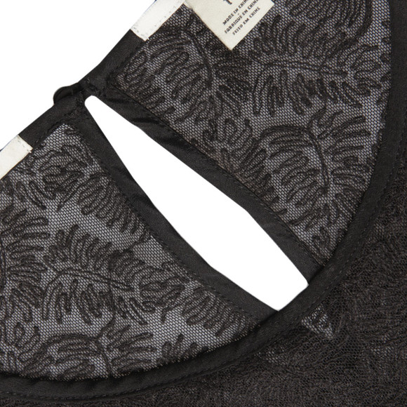 Maison Scotch Womens Black Leaf Embroidery Top main image