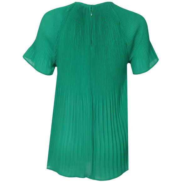 Michael Kors Womens Green Pleated Neck Top main image