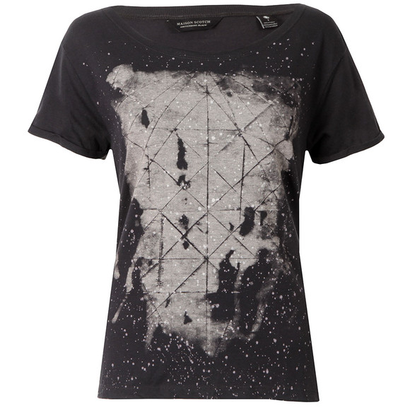 Maison Scotch Womens Black Black & White Print T Shirt main image
