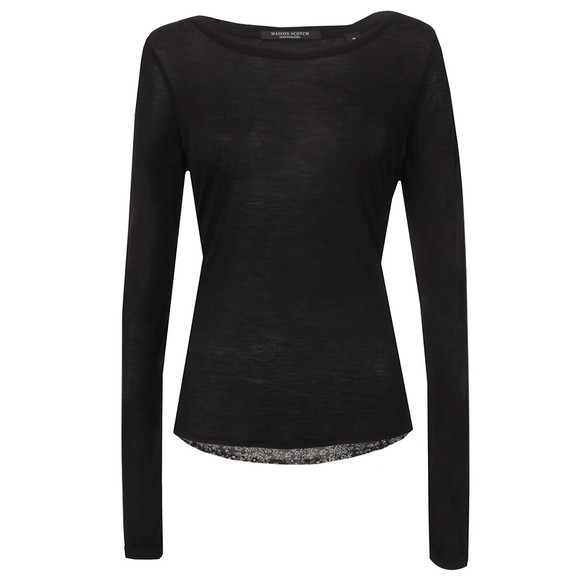 Maison Scotch Womens Black Jersey Front Long Sleeve Top main image