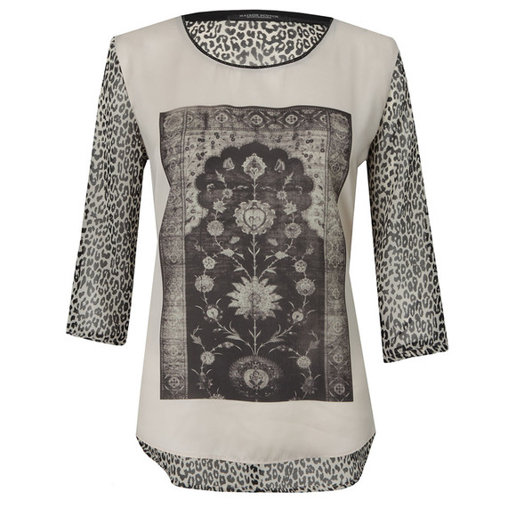 Maison Scotch Womens Off-white Photo Printed Woven Top main image