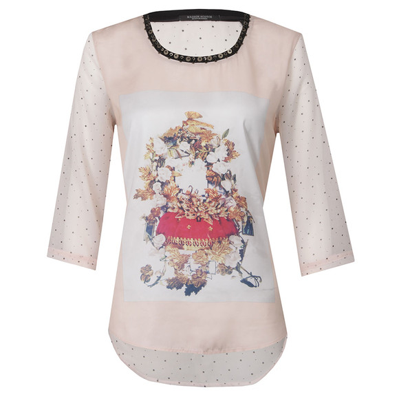 Maison Scotch Womens Pink Photo Printed Woven Top main image