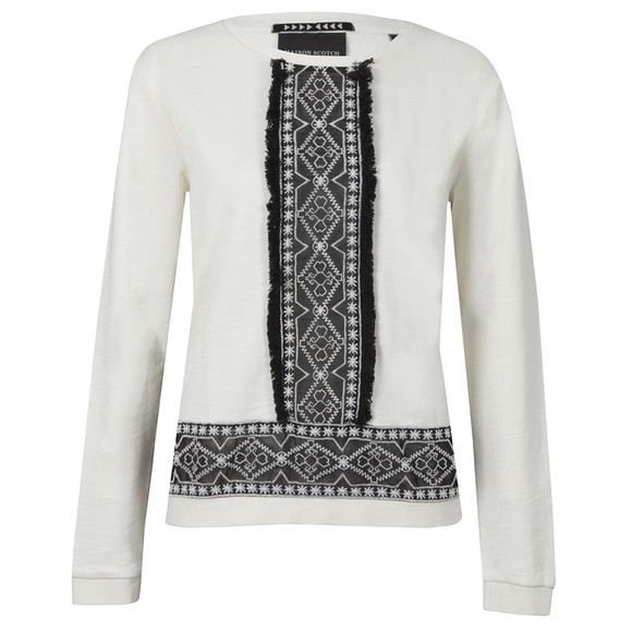 Maison Scotch Womens Off-white Embroidered Sweat With Fringe main image