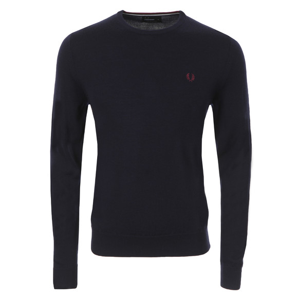 Fred Perry Mens Blue Crew Neck Jumper main image
