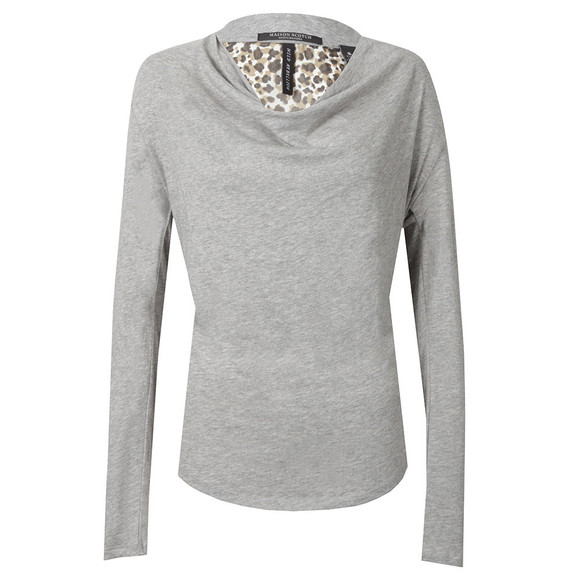 Maison Scotch Womens Grey Long Sleeve Jersey Cowl Neck Top main image