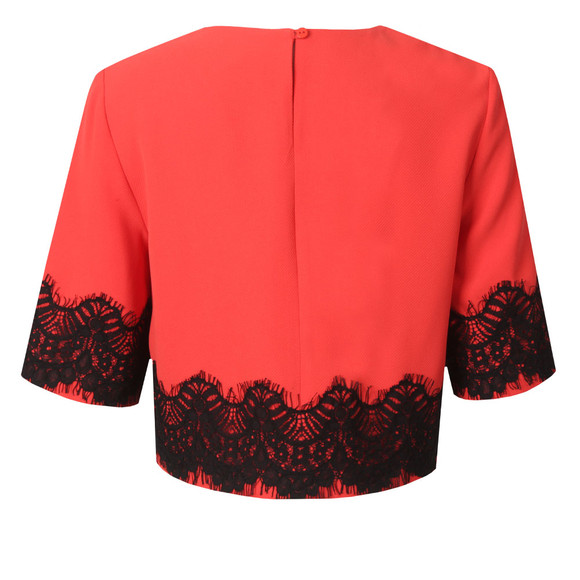 French Connection Womens Red Linea Lace Cropped Top main image