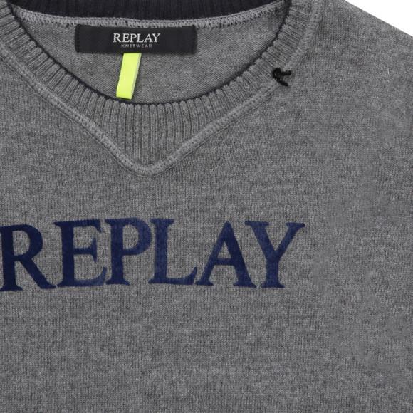 Replay Boys Grey Boys Crew Neck Jumper  main image