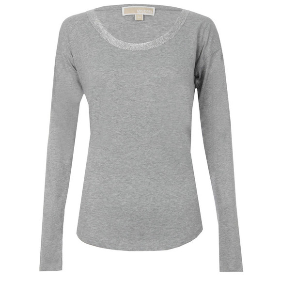 Michael Kors Womens Grey Metallic Trim Long Sleeve  main image