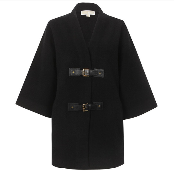 Michael Kors Womens Black Buckle Sweater Coat main image
