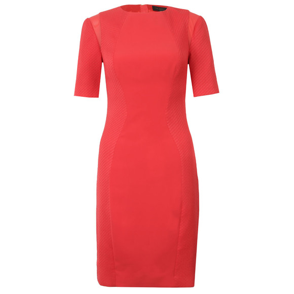 Ted Baker Womens Orange Abrial Mesh Panel Bodycon Dress main image