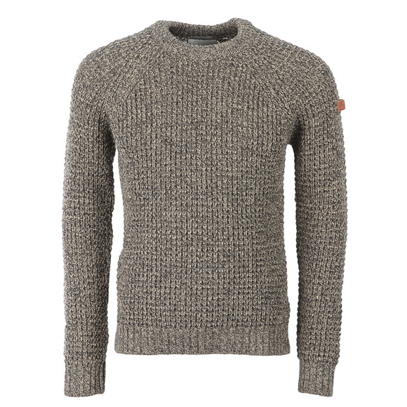 Peregrine Mens Brown Waffle Crew Neck Jumper main image