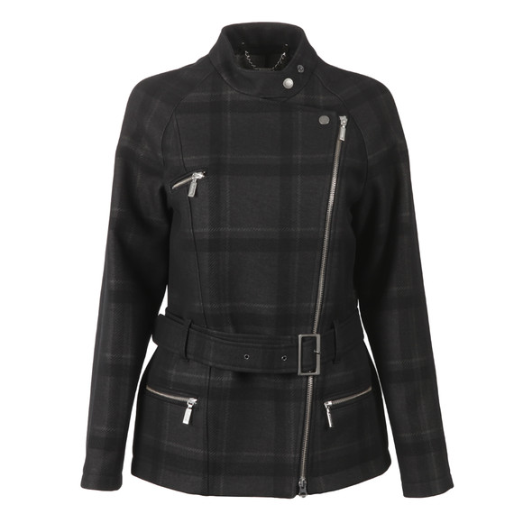 Barbour International Womens Black Katana Check Wool Jacket main image