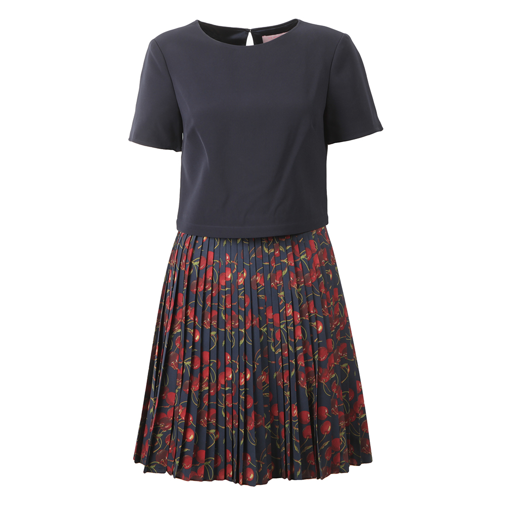 Delorez Cherry Print Pleat Skirt Dress main image