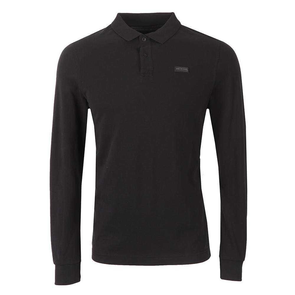 Long Sleeve Leather Badge Polo Shirt