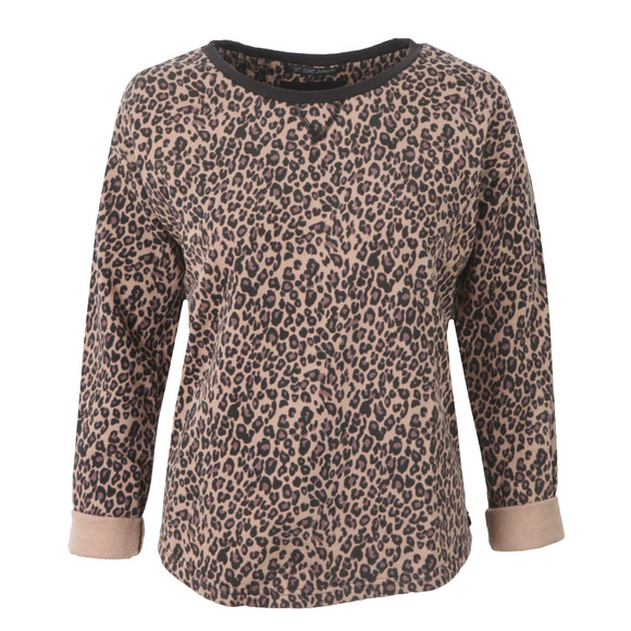 Maison Scotch Womens Brown Animal Printed Burnout Sweat Top main image
