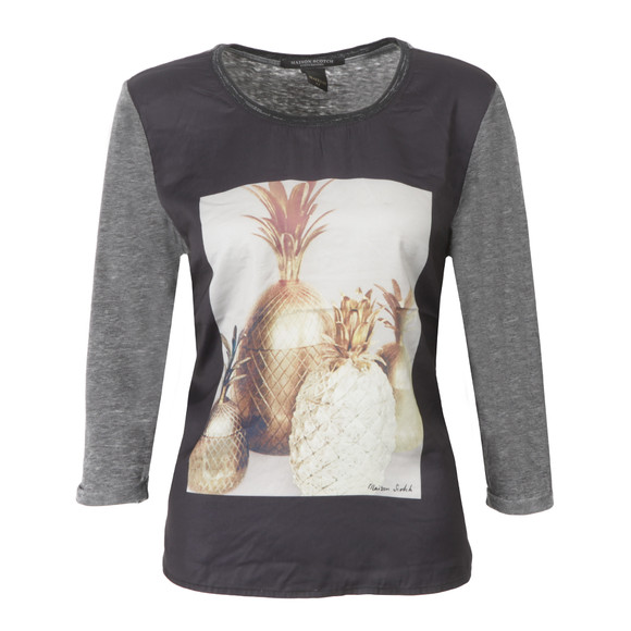 Maison Scotch Womens Black Photoprinted Burnout Top main image