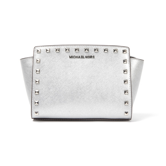 Michael Kors Womens Silver Selma Stud Messenger Bag main image