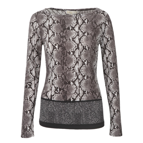 Michael Kors Womens Black Anaconda Border Top main image