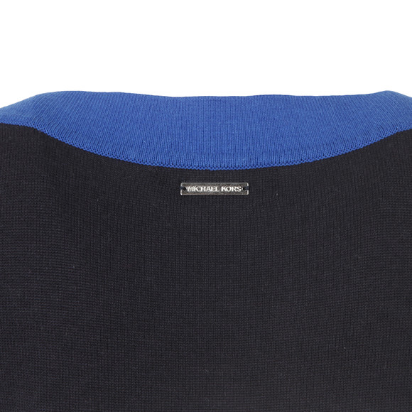 Michael Kors Womens Blue Colour Block Wide Neck Jumper main image
