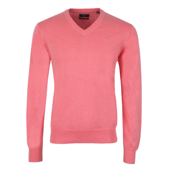 Gant Mens Pink V Neck Jumper main image