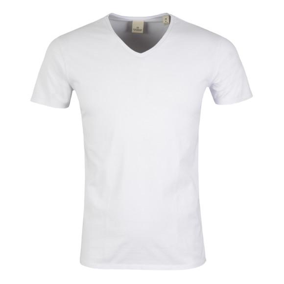 Scotch & Soda Mens White Cotton/Lycra V Neck T-Shirt  main image