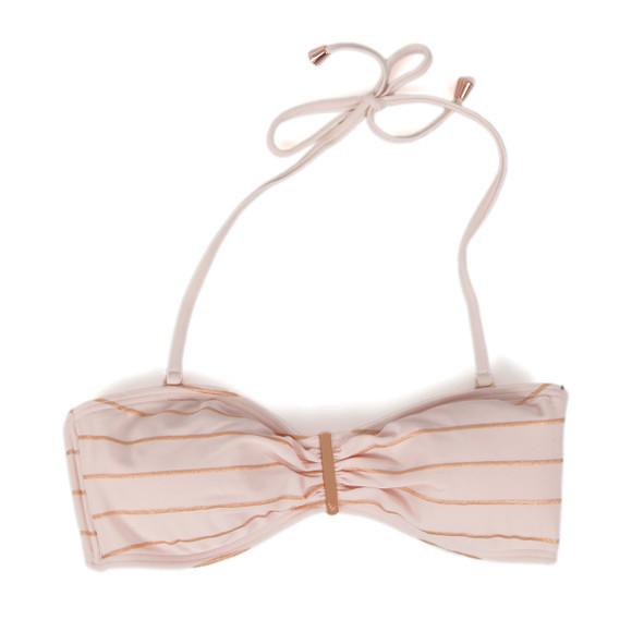 Ted Baker Womens Pink Sataraa Foil Stripe Bandeau Bikini Top main image
