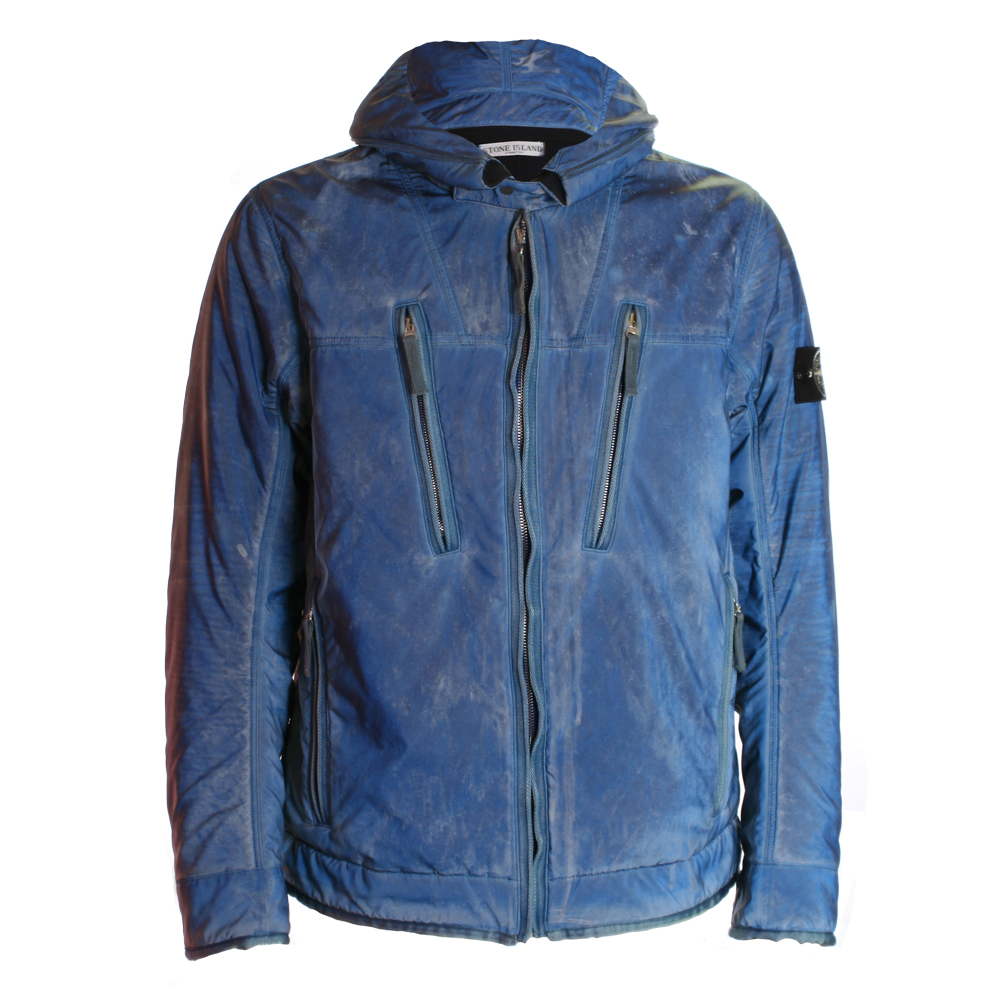 Stone Island Mens Blue Stone Island Liquid Reflective Jacket