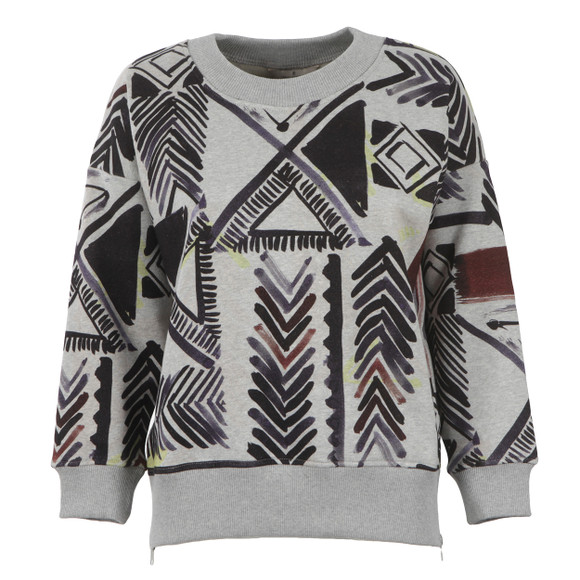 French Connection Womens Grey Empire Grid Roundneck Sweatshirt main image