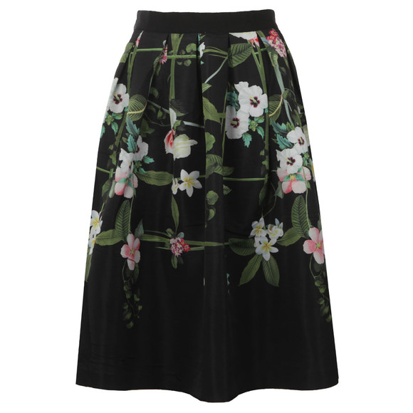 Ted Baker Womens Black Emmalin Secret Trellis Midi Full Skirt main image