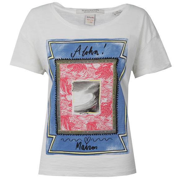 Maison Scotch Womens White Cotton Slub T Shirt main image