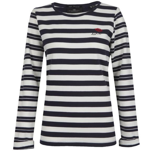 Maison Scotch Womens Blue Long Sleeve Stripe Sweat main image