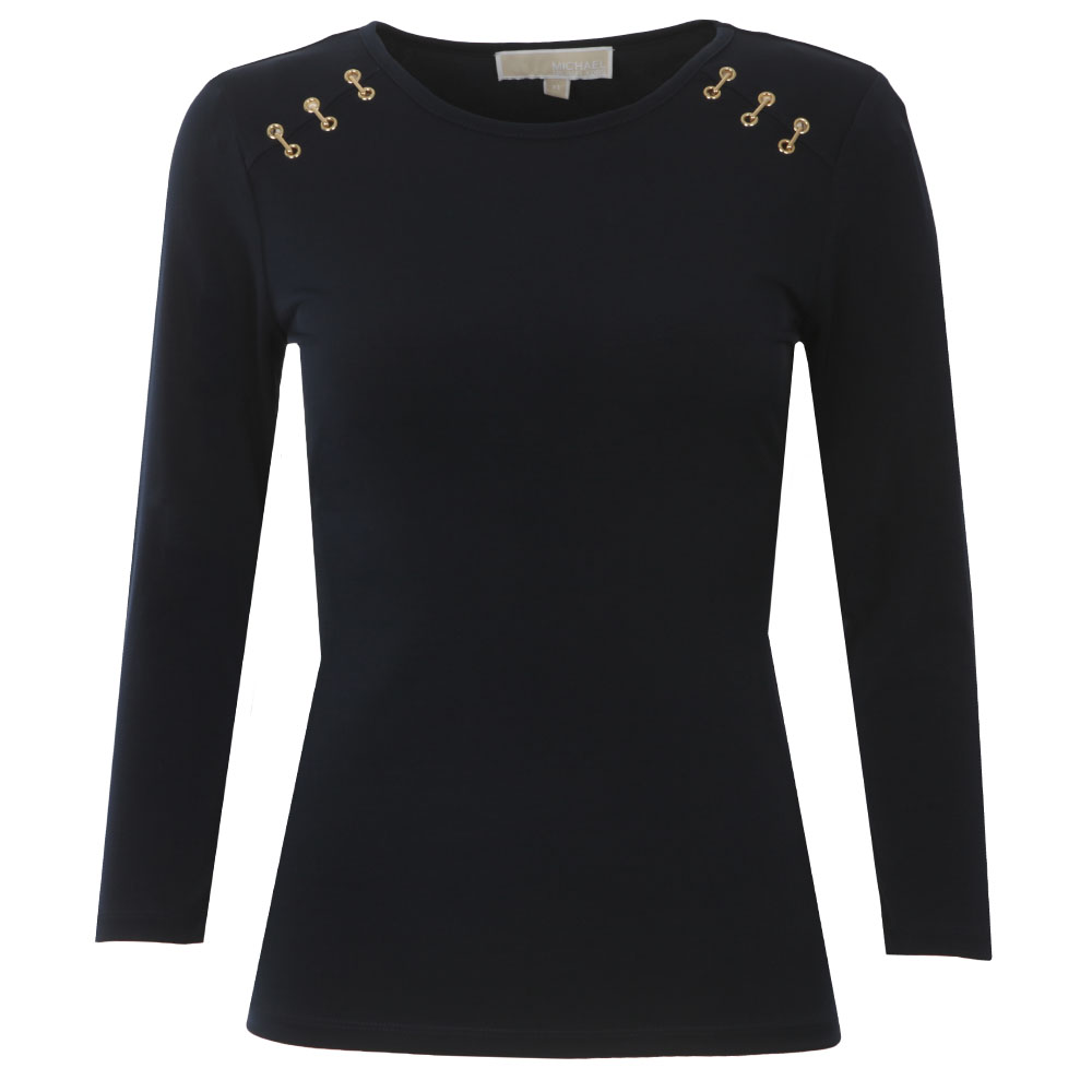 Metal Trim Long Sleeve Top main image