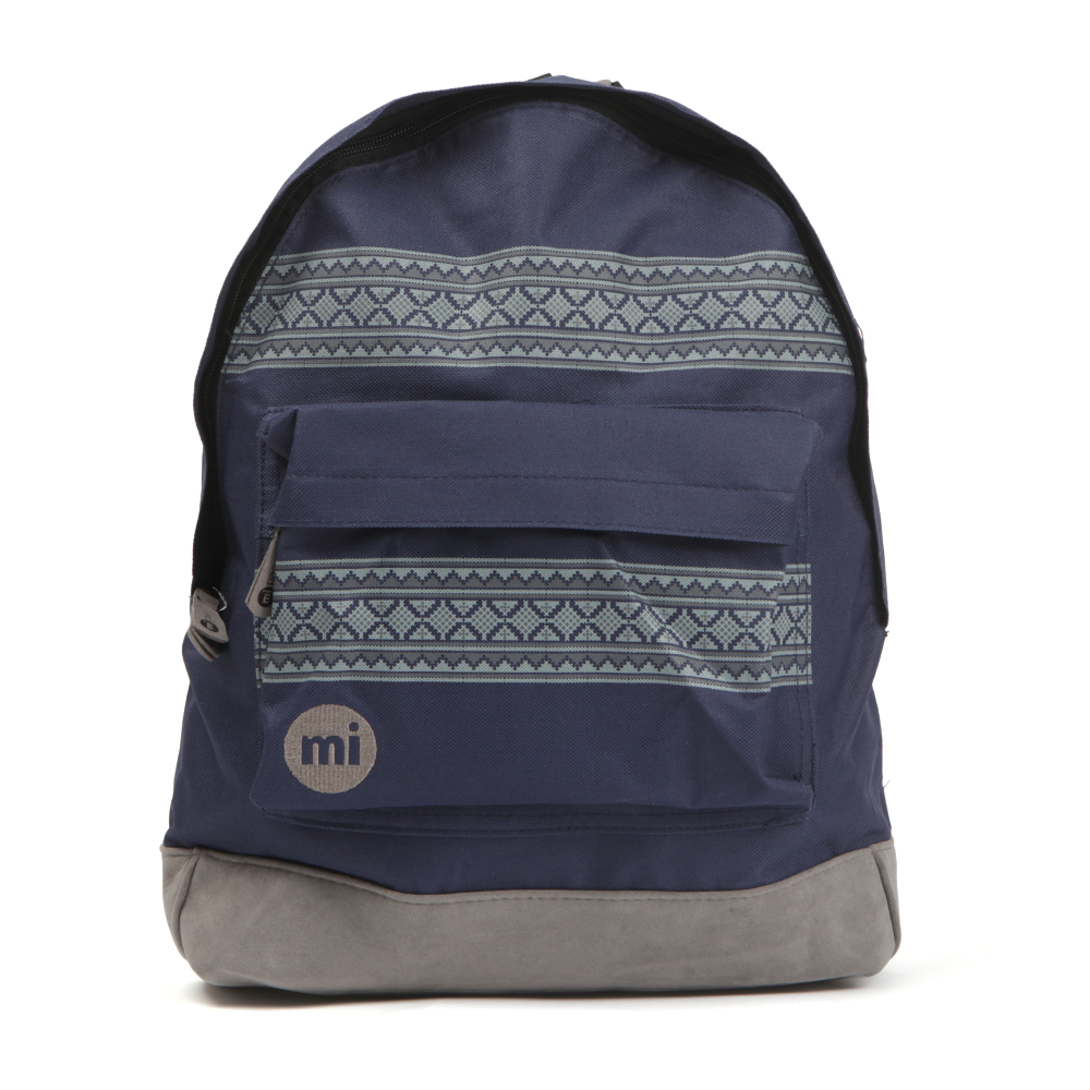 Mi-Pac Nordic Pocket Print Backpack, in Navy and Grey.A tough durable, water resistant polyester backpack that has faux suede base. Adjustable padded shoulders, zip front pocket and zip fastening to the main compartment. Completed with the Mi Pac logo embroidered to the front to finish this everyday bag.