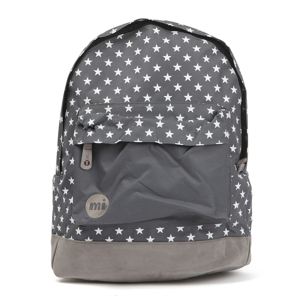 Mi-Pac All Over Star Backpack, in Charcoal. With contrast base trim, zip fastening on the main compartment and zip front pockets. All over star print, carry handle and finished with a earphone port.