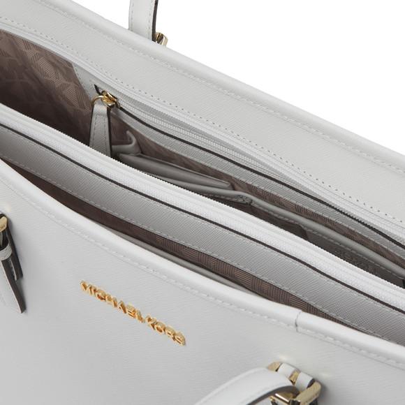 Michael Kors Womens White Jet Set Zip Multifunction Tote main image