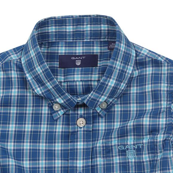 Gant Boys Blue Baby Dogleg Poplin Check Shirt main image