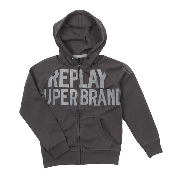 Replay Boys Grey Boys Large Logo Full Zip Hoody main image