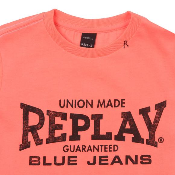 Replay Boys Pink Boys Large Logo T Shirt main image