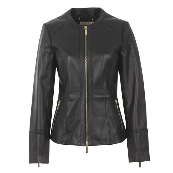 Michael Kors Womens Black Waisted Leather Jacket main image