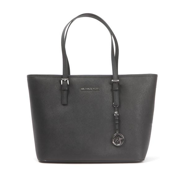 Michael Kors Womens Black Jet Set Travel Top Zip Tote Bag main image
