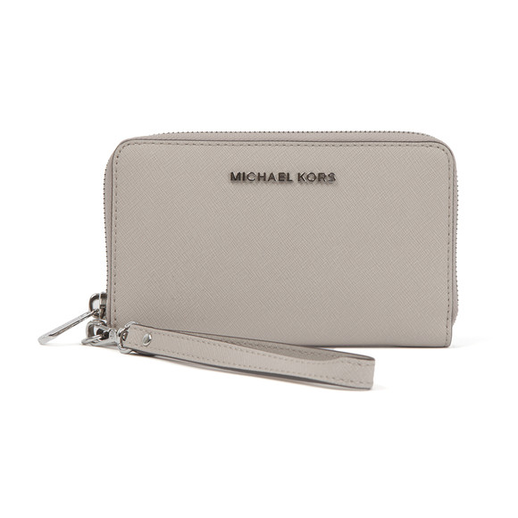 Michael Kors Womens Grey Jet Set Travel Large Coin Multi Function Phone Case main image