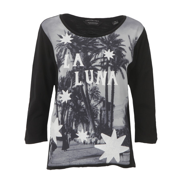 Maison Scotch Womens Black 3/4 Sleeve Photo Print T Shirt main image
