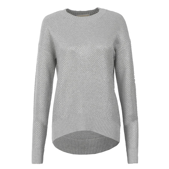 Michael Kors Womens Grey Metallic Chainmail Sweater main image