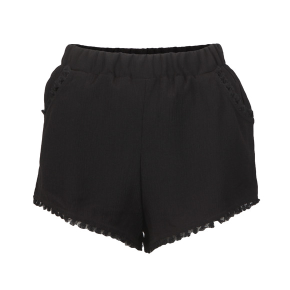 Babymilk Womens Black Cheesecloth Tassel Trim Shorts main image