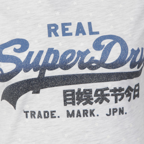 Superdry Womens Grey Vintage Logo Overdyed AOP Tee main image