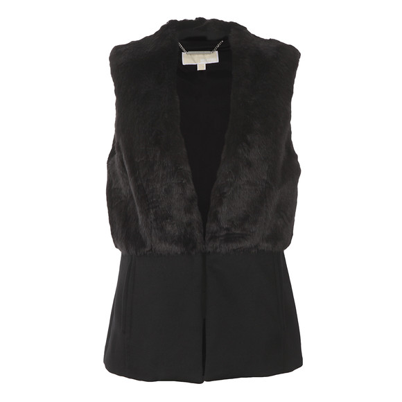 Michael Kors Womens Black Fitted Faux Fur Vest main image