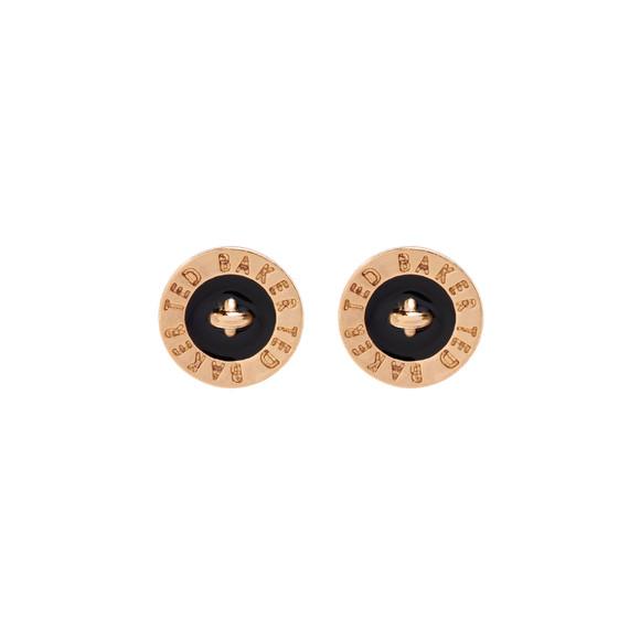 Ted Baker Womens Gold Tempany Enamel Logo Button Stud Earrings main image
