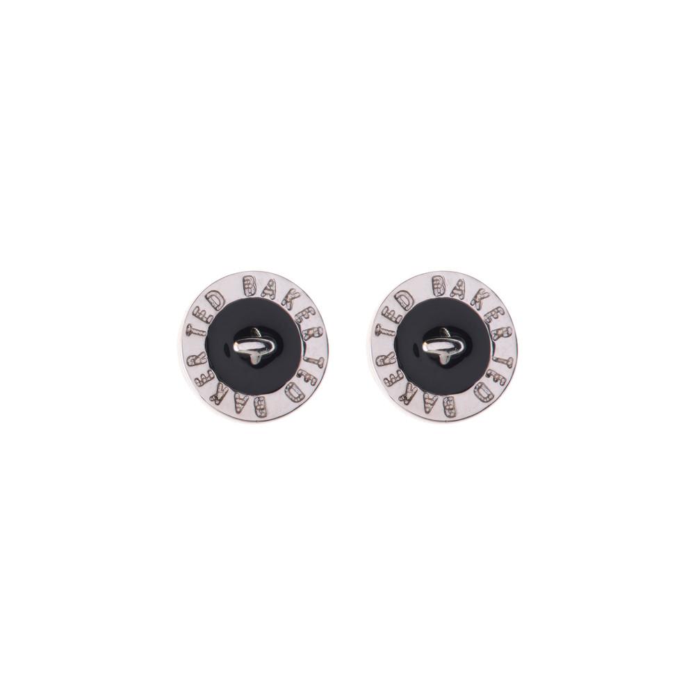 Tempany Enamel Logo Button Stud Earrings main image