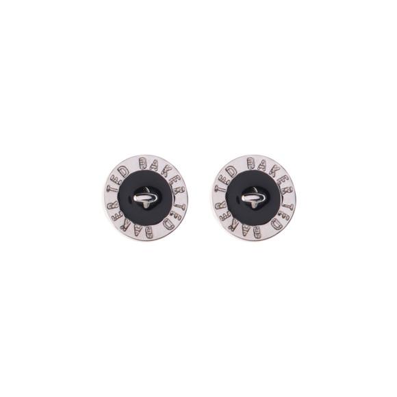 Ted Baker Womens Silver Tempany Enamel Logo Button Stud Earrings main image