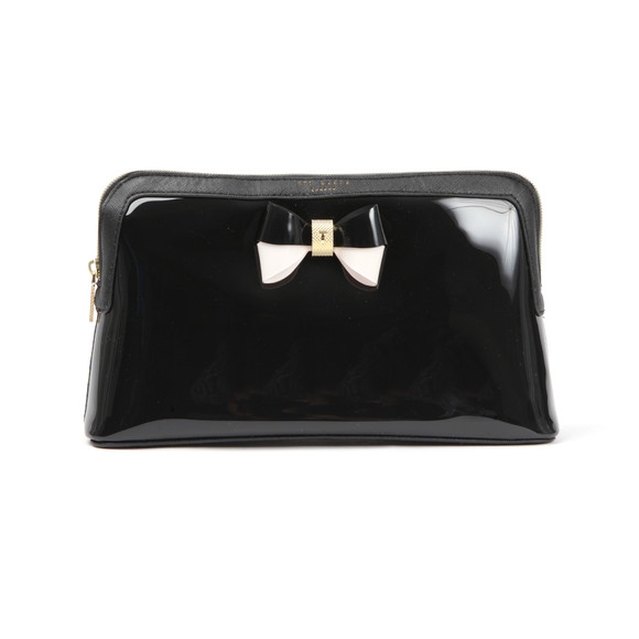 Ted Baker Womens Black Madlynn Colourblock Bow Large Washbag main image